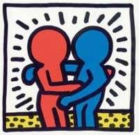 Embrassade de deux personnage, rouge et bleu